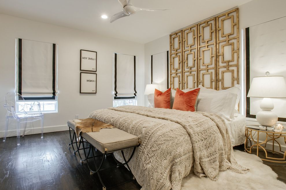 Freds Beds Raleigh   Transitional Bedroom  and Animal Skin Rug Bed Bench Cable Knit Cover Ceiling Fan Geometric Headboard Geometric Table Gold Accents Orange Velvet Pillows Roman Shade