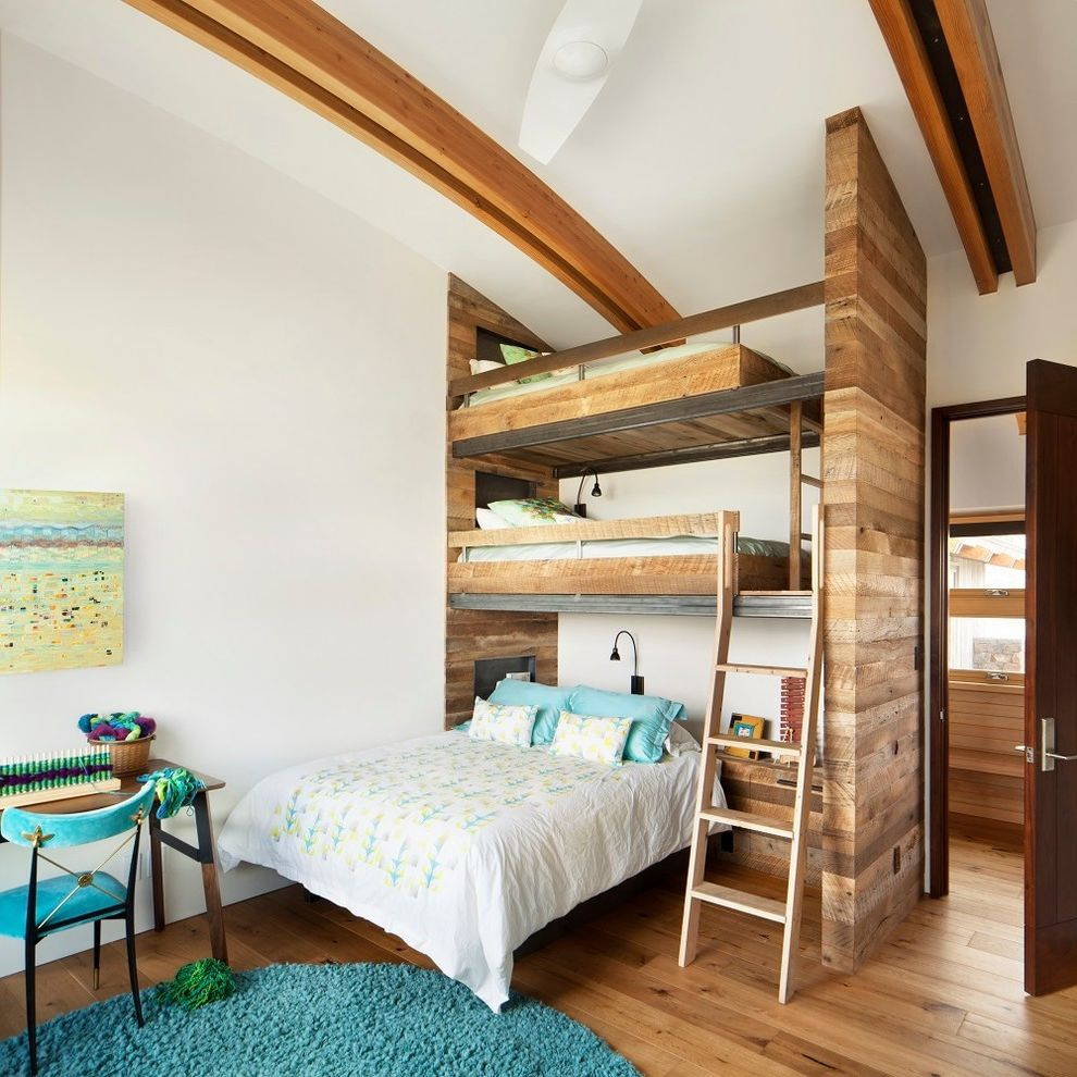 Freds Beds Raleigh with Rustic Kids  and Blue Area Rug Three Level Bunk Bed Triple Bunk Bed Vaulted Ceiling White Bedding Wood Beams