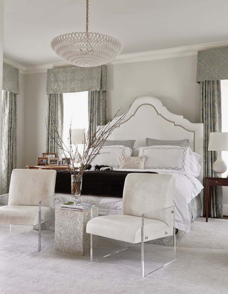 Freds Beds Raleigh with Transitional Bedroom Also Armchairs Bedding Curtains Elegant Feminine Neutral Pendant Light Romantic Upholstered Headboard Valance