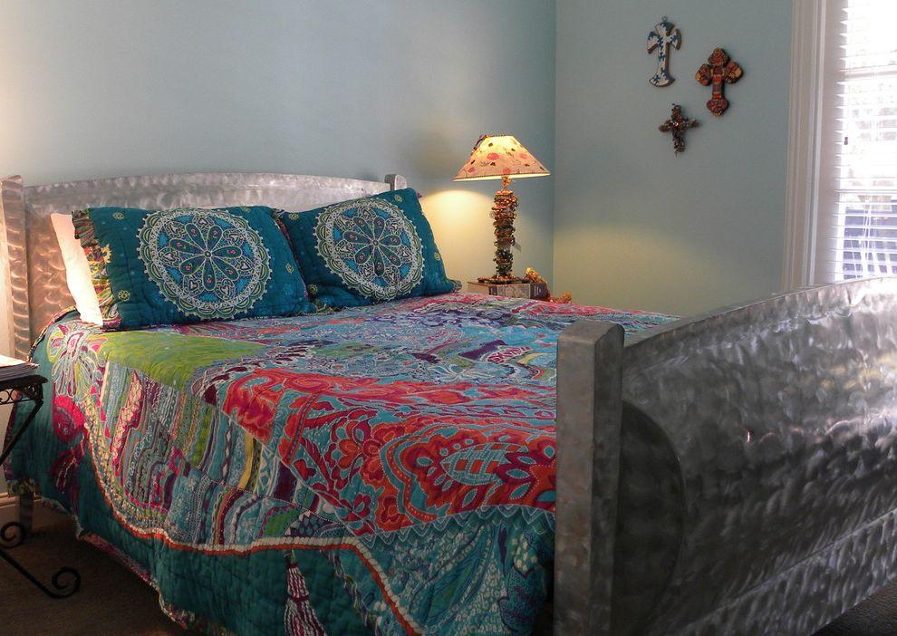 Freeds Furniture   Transitional Bedroom Also Anthropologie Aqua Bed Bedding Bedside Brushed Crosses Galvanized Lamp Metal