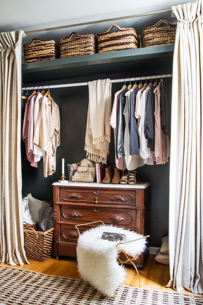 Freeds Furniture   Transitional Closet Also Area Rugs Clothes Hanging Rod Curtains as Closet Doors Dresser Fur Stool Storage Baskets Valspar Sable Calm