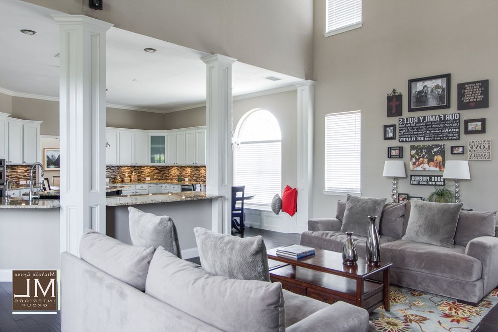 Freeds Furniture with Transitional Family Room Also Built Ins Family Gray Photo Gallery Stone Stone Fireplace Transitional White Kitchen Cabinets