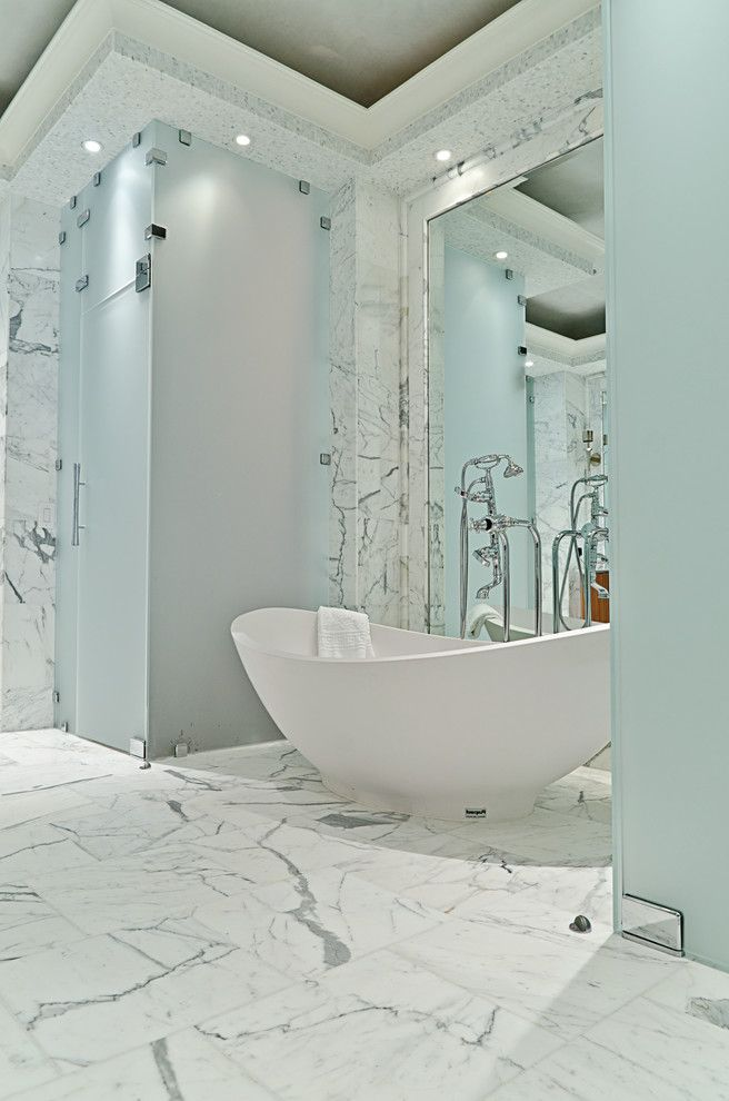 Freestanding Bathtubs for Sale   Contemporary Bathroom Also Bathroom Tile Ceiling Lighting Freestanding Bathtub Frosted Glass Marble Marble Tile Recessed Lighting White Bathroom