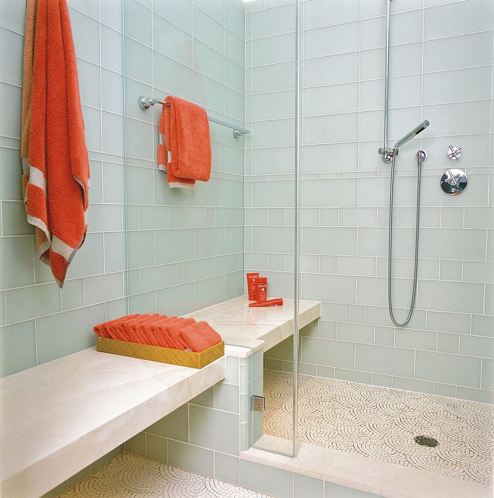 Fresh Start Cleaner   Contemporary Bathroom  and Accent Colors Bold Colors Glass Shower Door Glass Tile Green Tile Mosaic Tiles Shower Bench Subway Tiles Tile Flooring Tile Wall Towel Hooks Towel Storage