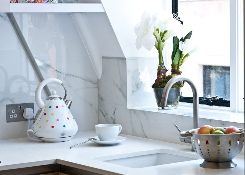 Fresh Start Cleaner   Contemporary Spaces Also Kettle Marble Metal Frame Multifunctional Space Porcelian Small Space Spacesaving Solutions Studio Tap White Kitchen White Sink Window