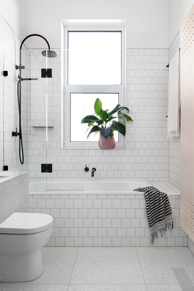 Fresh Start Cleaner with Scandinavian Bathroom  and Black Fittings Black Fixtures Blonde Palette Bronze Frosted Glass Window Grey Floor Tile Indoor Plant Rainfall Showerhead Scandinavian Interior Subway Tile