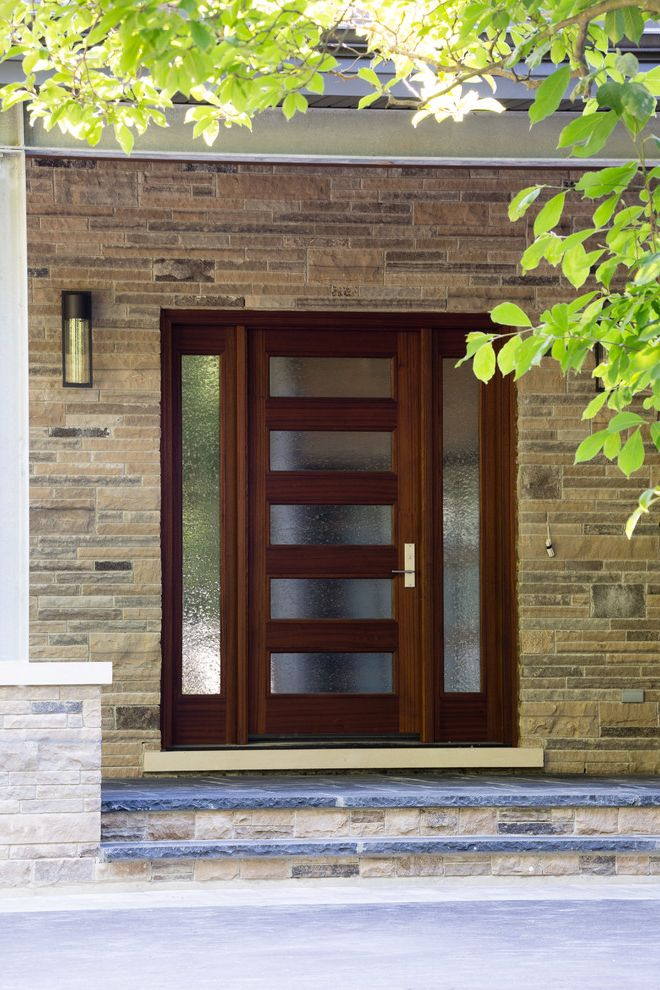 Front Door Curtain Panel   Contemporary Entry Also Modern Front Door Modern Front Porch Natural Stone Stone Wood and Glass Door Wood Door Wood Front Door