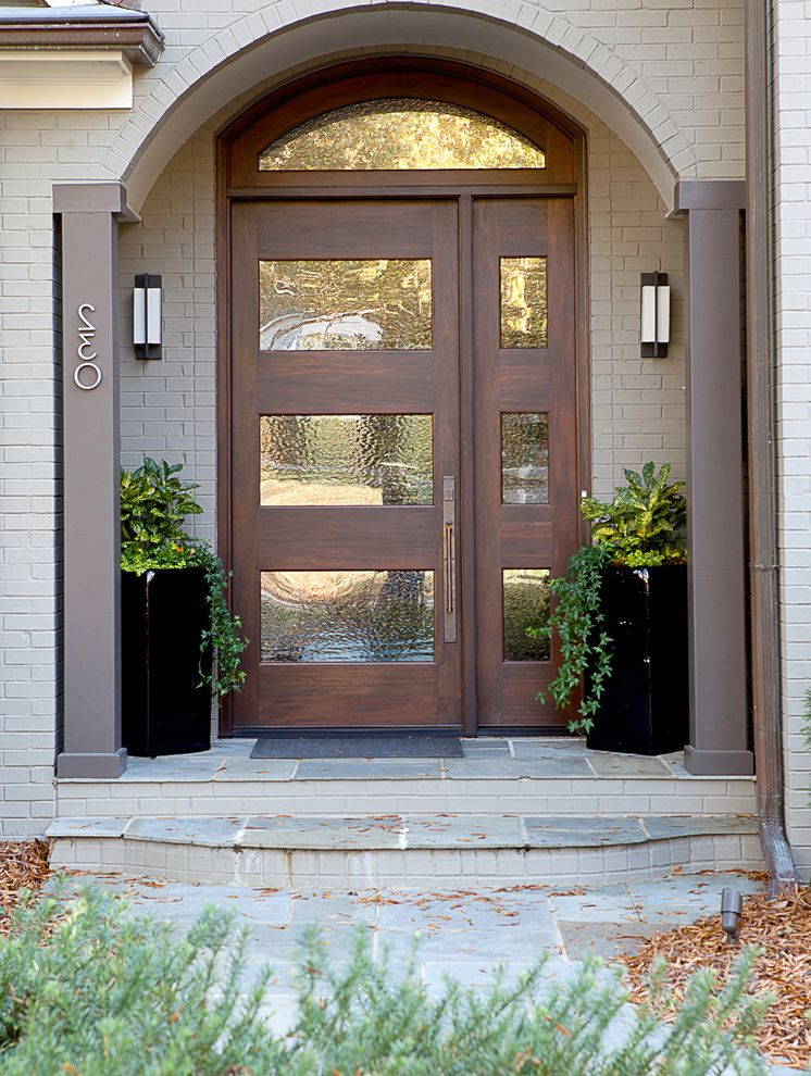 Front Door Curtain Panel with Transitional Entry Also Arched Door Arched Doorway Glass Paneling Modern Modern Exterior Lights Modern Front Door Transom Window Walnut Door