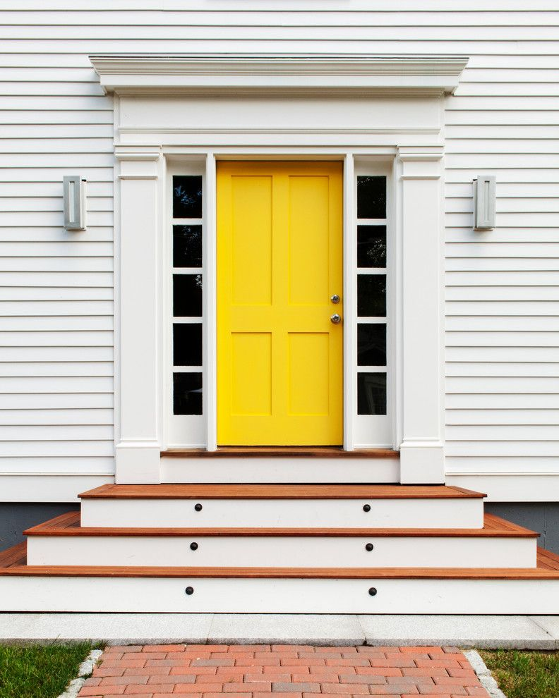 Front Door Curtain Panel with Transitional Entry  and Brick Paving Colorful Front Door Front Door Front Steps Grass Lawn Outdoor Lighting Sidelights Turf White House Wood Siding Yellow Yellow Door Yellow Front Door