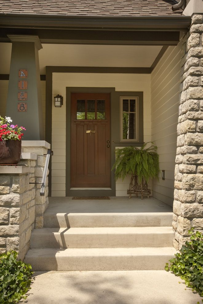 Front Door Window Treatments   Craftsman Entry  and Container Plant Craftsman Fern Front Door Green Wood Handrail House Number Metal Railing Painted Wood Porch Potted Plant Rain Chain Rock Pillar Stone Wood Door Wood Post Wood Siding Wood Trim