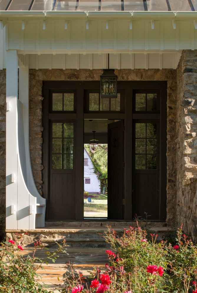 Front Door Window Treatments   Farmhouse Entry Also Board and Batten Board and Batten Siding Bungalow Corrugated Metal Country Home Farmhouse Field Field Stone House Metal Roof Pendant Lighting Rural Rustic Stone Stone Steps Stone Walls Washington