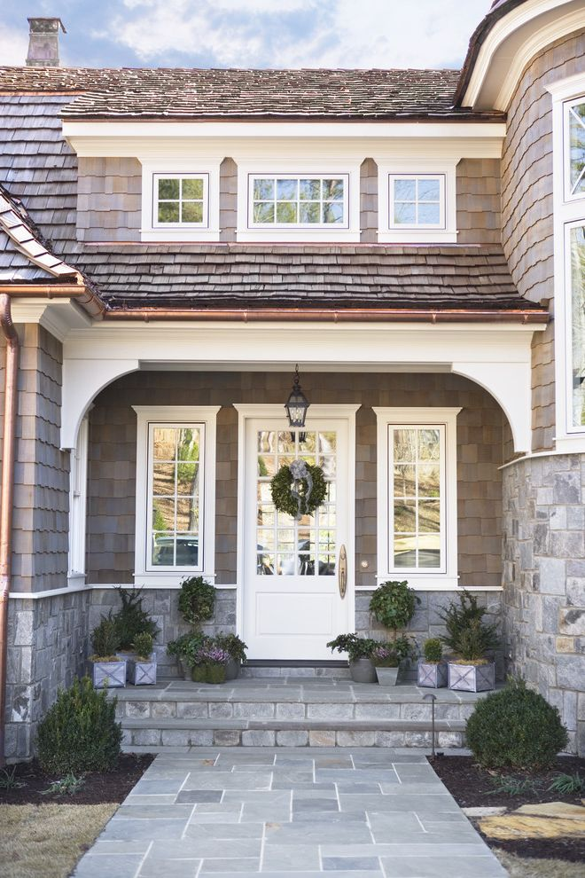 Front Door Window Treatments   Victorian Entry Also Container Plants Covered Entry Door Wreath Flagstone Front Door Front Stoop Potted Plants Shake Roof Shingle Siding White Trim
