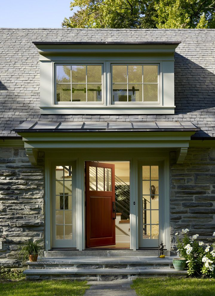 Front Door Window Treatments with Traditional Entry  and Divided Lights Door Hardware Dormer Window Entry Steps Entryway Front Door Metal Roof Sidelights Standing Rib Roof Standing Seam Roof Stone Wall