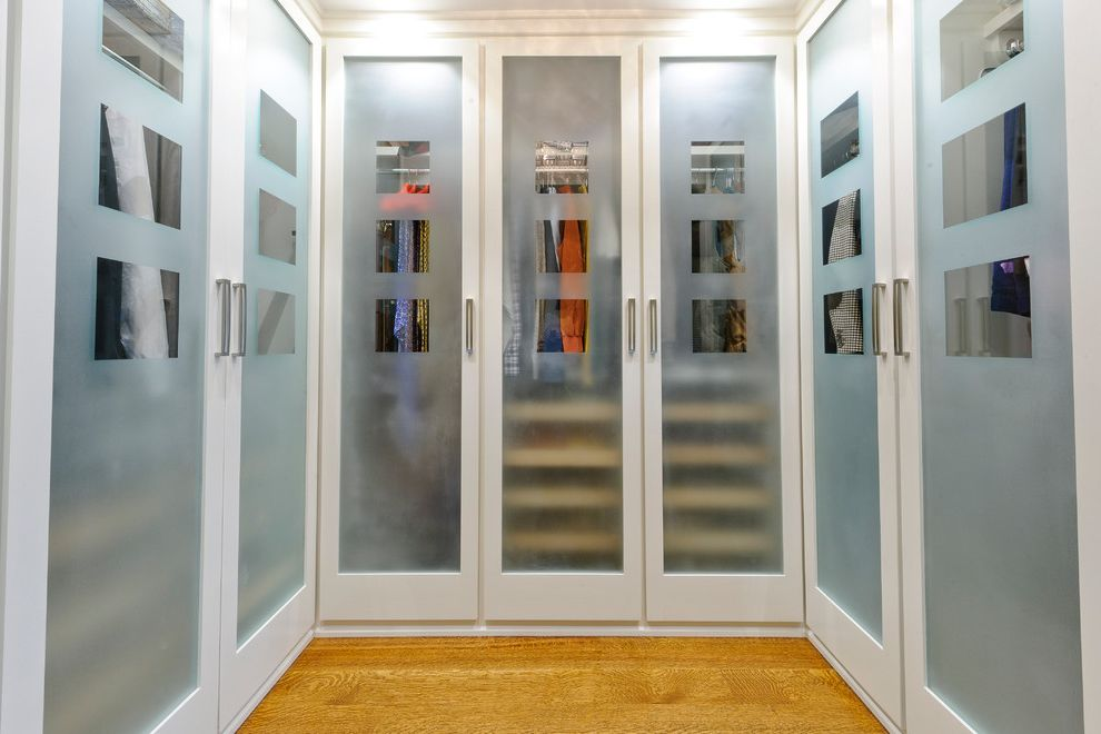 Frost Hardwood   Traditional Closet Also Closet Closet Doors Doors Hardwood Floor Modern Hardware Translucent Glass Transparent Doors Wood Floor