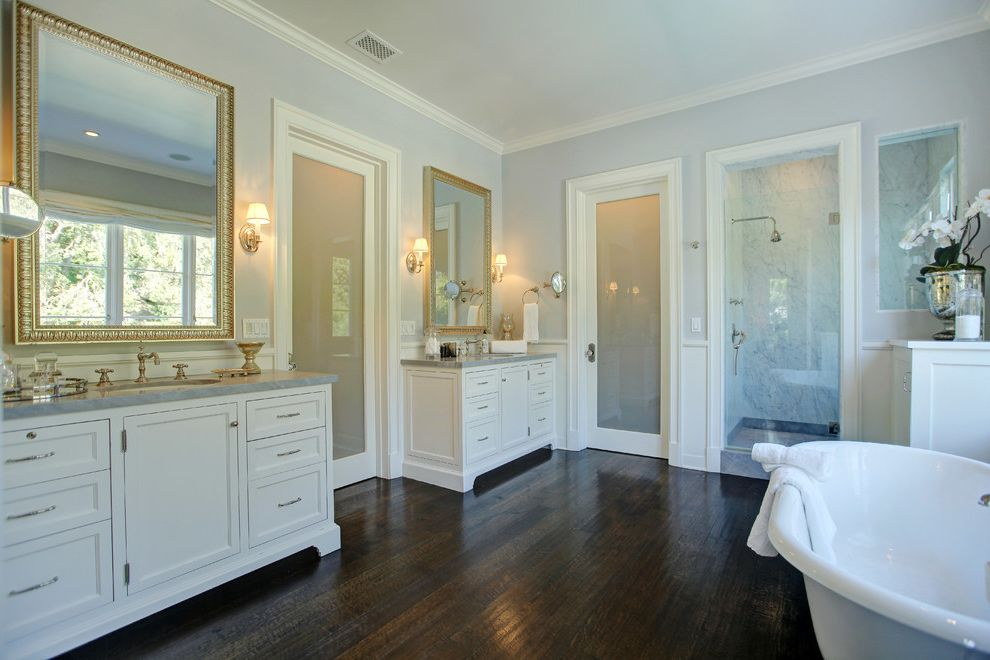 Frost Hardwood   Transitional Bathroom Also Double Sinks Double Vanity Framed Mirror Freestanding Tub Glass Door Glass Shower Door Sconce Soaking Tub