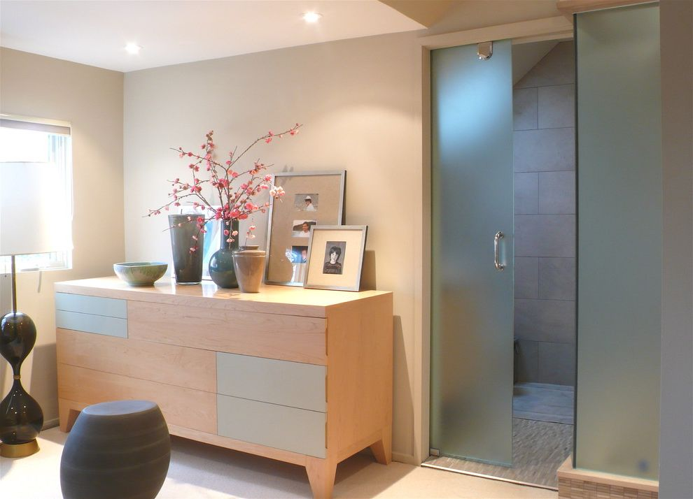 Frosted Glass Exterior Door   Modern Bathroom Also Bathroom Storage Bedroom Ceiling Lighting Chest of Drawers Dresser Ensuite Frosted Glass Frosted Glass Door Modern Neutral Colors Pocket Door Recessed Lighting Shirley Meisels Shower Www Mhouseinc Com