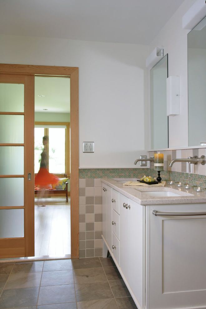 Frosted Glass Exterior Door   Traditional Bathroom Also Cabinet Double Sinks Frosted Glass Glass Door Green Materials Modern Sconces Natural Tones Pocket Door Recycled Stone Tile Tile Backsplash Undermount Sinks Vanity White