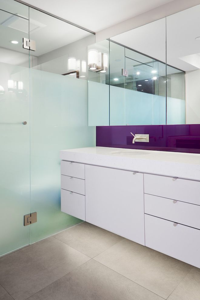 Frosted Glass Whiteboard   Contemporary Bathroom  and Bathroom Mirror Bathroom Tile Floating Vanity Floor Tile Frosted Glass Medicine Cabinet Purple Accent Wall Mount Faucet