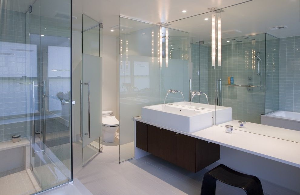 Frosted Glass Whiteboard   Modern Bathroom  and Bench Seat Dark Stained Wood Floating Cabinet Frosted Glass Glass Mirror Shower Bench Shower Enclosure Tile Tub Vessel Sink Wall Mounted Faucet White