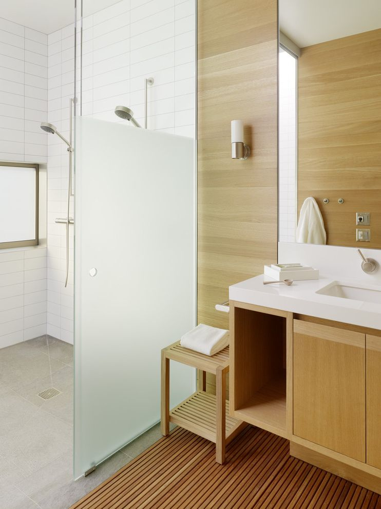 Frosted Glass Whiteboard   Scandinavian Bathroom  and Bathroom Bench Bathroom Storage Decking Double Shower Head Glass Shower Door Neutral Colors Sconce Shower Window Tile Wall Wall Lighting Wall Mount Faucet Wood Cabinets Wood Flooring Wood Paneling