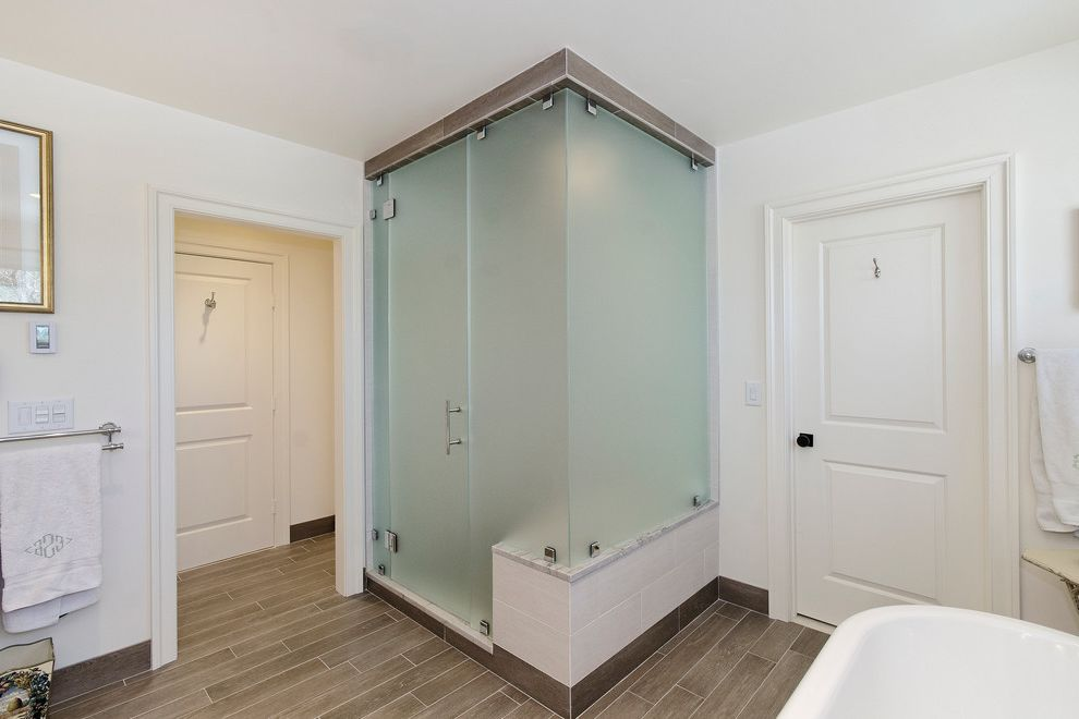 Frosted Glass Whiteboard   Transitional Bathroom Also Beige Tile Shower Brown Tile Floor Double Towel Rack Frosted Glass Shower Frosted Glass Shower Door Walk in Shower White Door White Towels White Wall