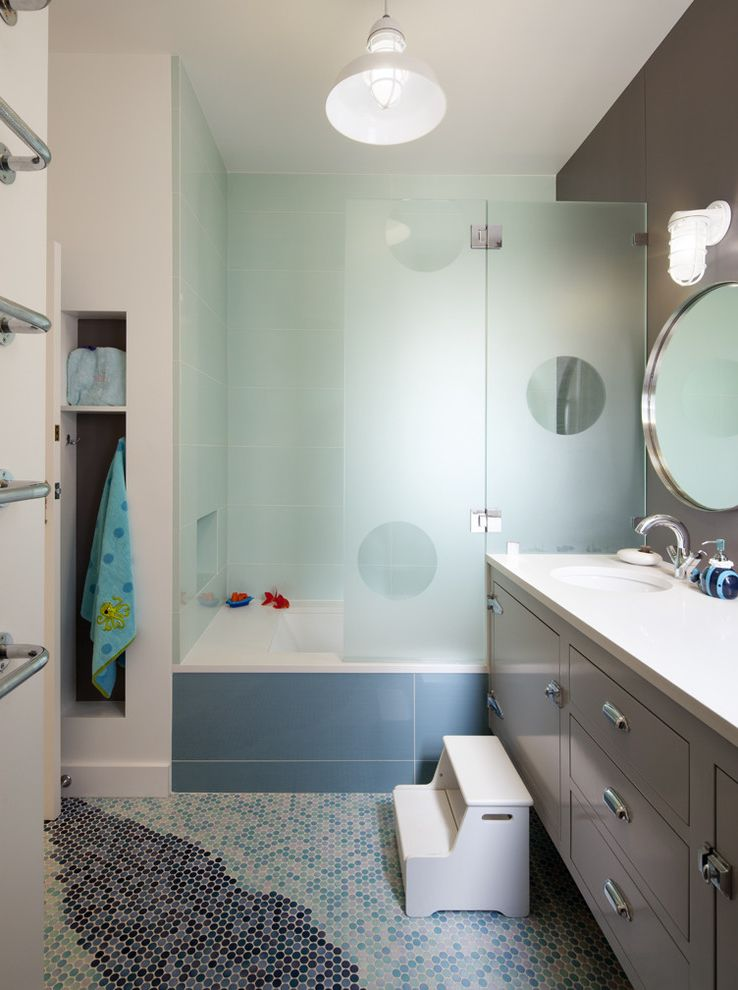 Frosted Glass Whiteboard with Contemporary Bathroom Also Accent Wall Floor Tile Floor Tile Design Footstool Frosted Glass Grey Cabinets Grey Walls Kids Bathroom Lantern Mosaic Tile Penny Tile Shared Bathroom Shower Tile Shower Tub Step Utility Pendant