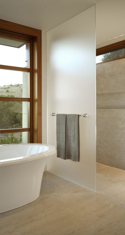 Frosted Glass Whiteboard with Modern Bathroom Also Clerestory Freestanding Tub Frosted Glass Minimal Neutral Colors Open Shower Stone Flooring Towel Racks Wood Trim