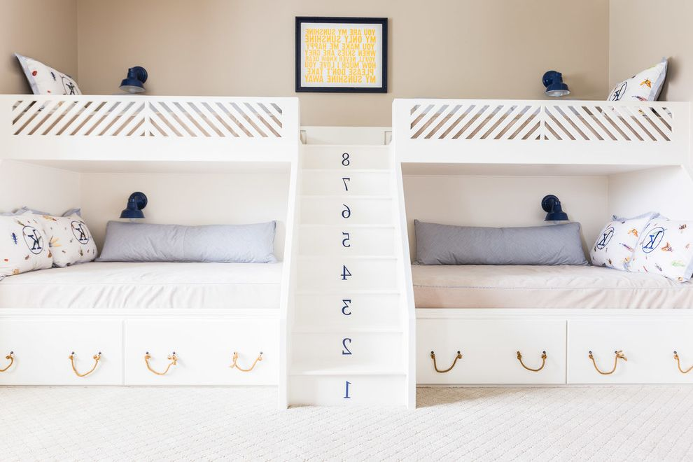 Full Over Queen Bunk Bed with Stairs   Beach Style Kids Also Bedding Built in Bunk Bed Custom Nautical Rope Navy Blue Pillows Stairs Under Bed Storage Wall Art Wall Sconces