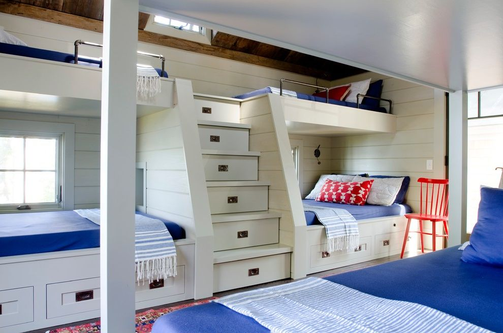 Full Over Queen Bunk Bed with Stairs   Beach Style Kids Also Blue Bedding Bronze Hardware Bunk Beds Exposed Beams Orange Chair Rustic Ceiling Wood Ceiling