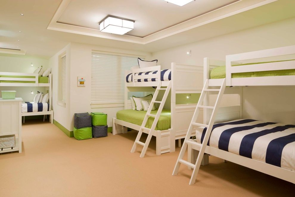 Full Over Queen Bunk Bed with Stairs   Transitional Kids Also Blinds Blue Stripe Bunk Beds Ceiling Lights Cupcake Dresser Green Kids Room Ladders Poufs Tray Ceiling White Walls
