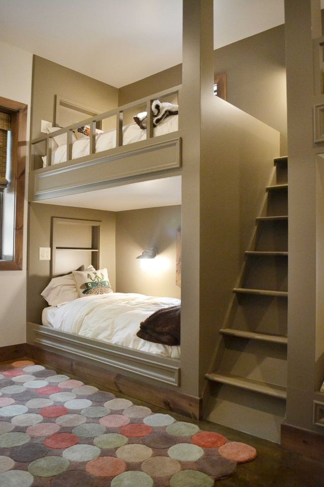 Full Over Queen Bunk Bed with Stairs with Contemporary Kids Also Alcove Baseboards Built in Bunk Beds Bunk Beds Cubbies Dutch Bed Loft Bed Neutral Tones Nook Reading Lamp Shared Bedroom Stained Concrete Twin Beds White Bedding