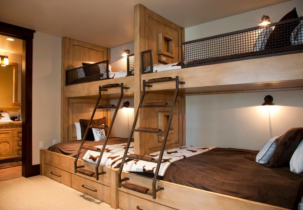 Full Over Queen Bunk Bed with Stairs with Rustic Bedroom  and Beige Carpet Built in Bunk Beds Bunk Beds Metal Ladders Reading Light Wall Sconces
