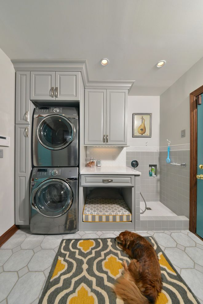 Full Size Stackable Washer and Dryer with Traditional Laundry Room Also Dog Bed Dog Grooming Dog Shower Dog Wash Dogs Kids Utility Room Utility Room
