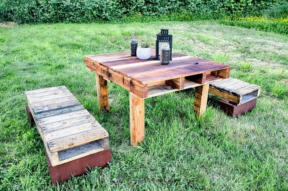 Furniture Making Supplies with Rustic Patio Also Al Fresco Dining Grass Patio Lantern Outdoor Dining Table Outdoor Living Space Reclaimed Palette Bench Reclaimed Palette Seating Reclaimed Palette Table