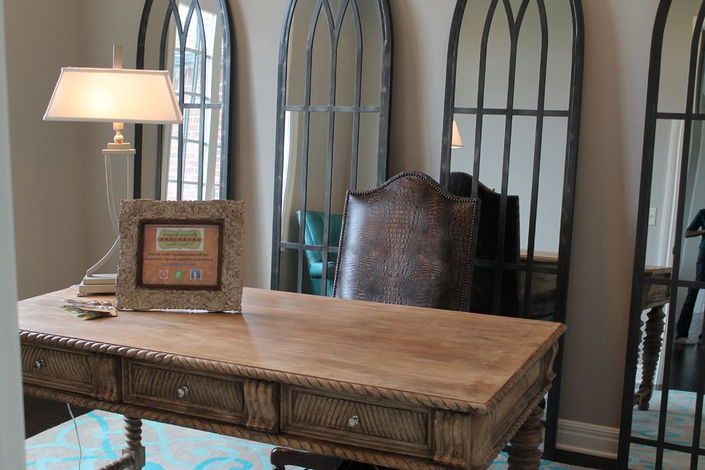 Furniture on Consignment Wichita Ks   Transitional Home Office Also 3 Drawer Desk Cathedral Mirror Lamp Leather Chair