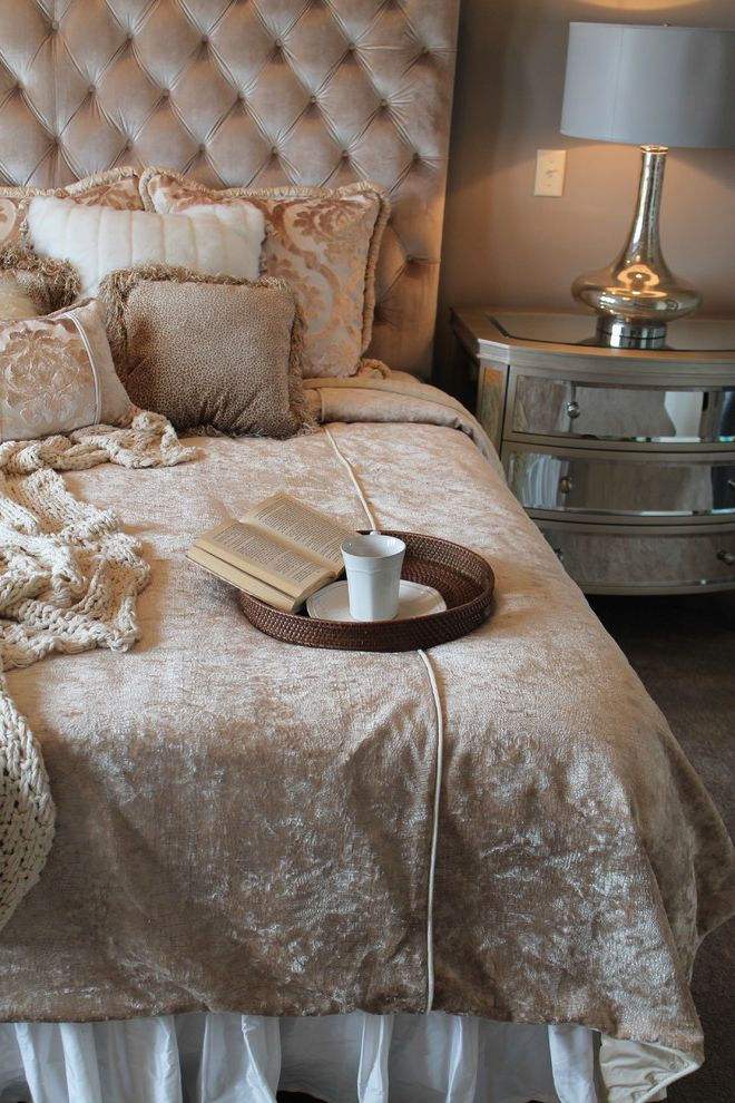Furniture on Consignment Wichita Ks with Transitional Bedroom  and Classic Custom Bedding Mirrored Dresser Neutral Rich Silver Lamp Throw Tufted Headboard