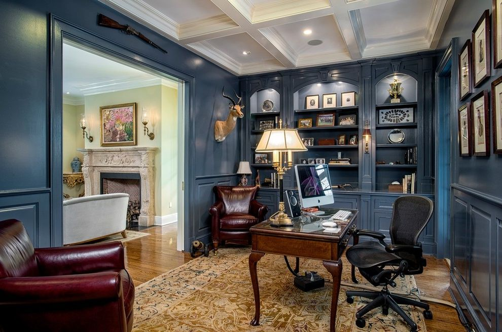 Furniture Outlets in Ct with Traditional Home Office  and Black Task Chair Blue Wall Paneling Built in Bookcase Built in Bookshelf Coffered Ceiling Framed Art Wainscoting