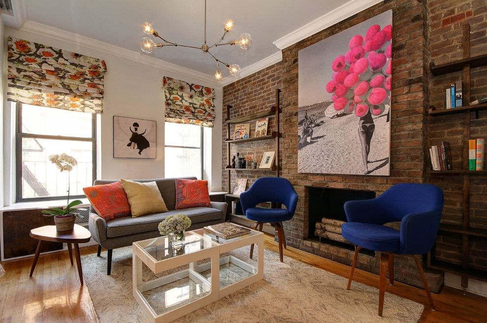 Furniture Repair Okc with Contemporary Living Room Also Blue Armchairs Colorful Accents Crown Molding Custom Shelving Exposed Brick Oversized Artwork Roman Shades Small Space Wall Mounted Bookshelf