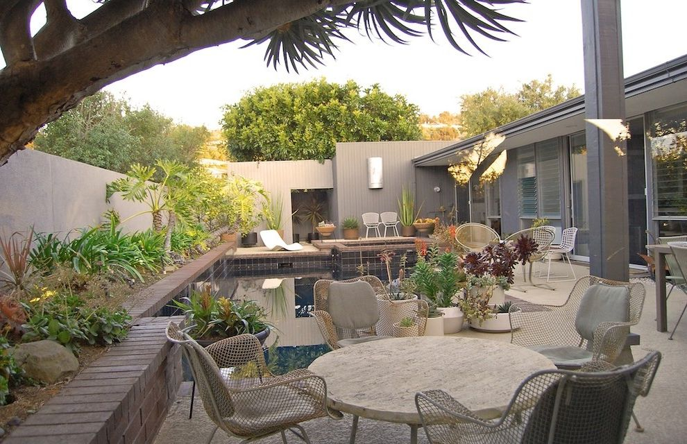 Furniture Repair Okc with Midcentury Patio  and Container Plants Courtyard Garden Wall Mid Century Modern Outdoor Dining Patio Furniture Pool Potted Plants Retro Succulents