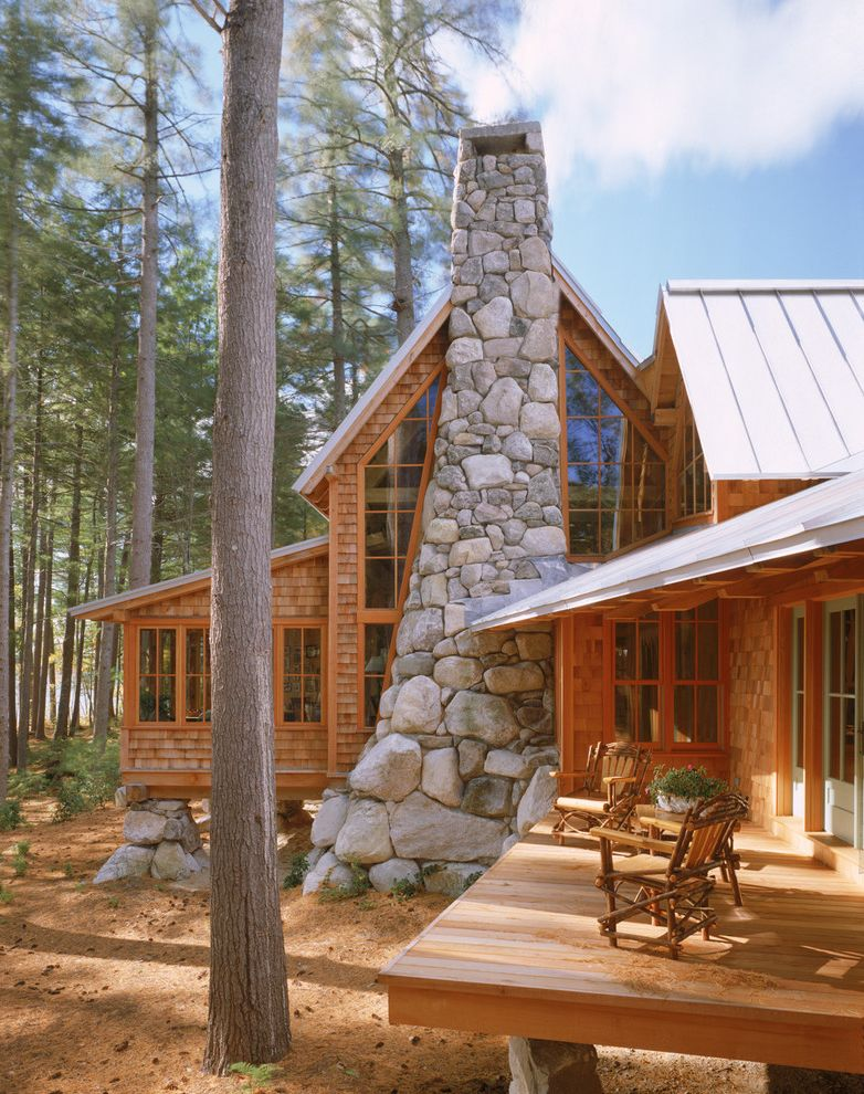 Furniture Repair Okc with Rustic Exterior Also Cabin Camp Deck Fieldstone Home Lakefront Maine Nature New England Patio Furniture Retreat Rock Chimney Rural Rustic Shingle Siding Site Vacation Waterfront Willow Furniture Wood