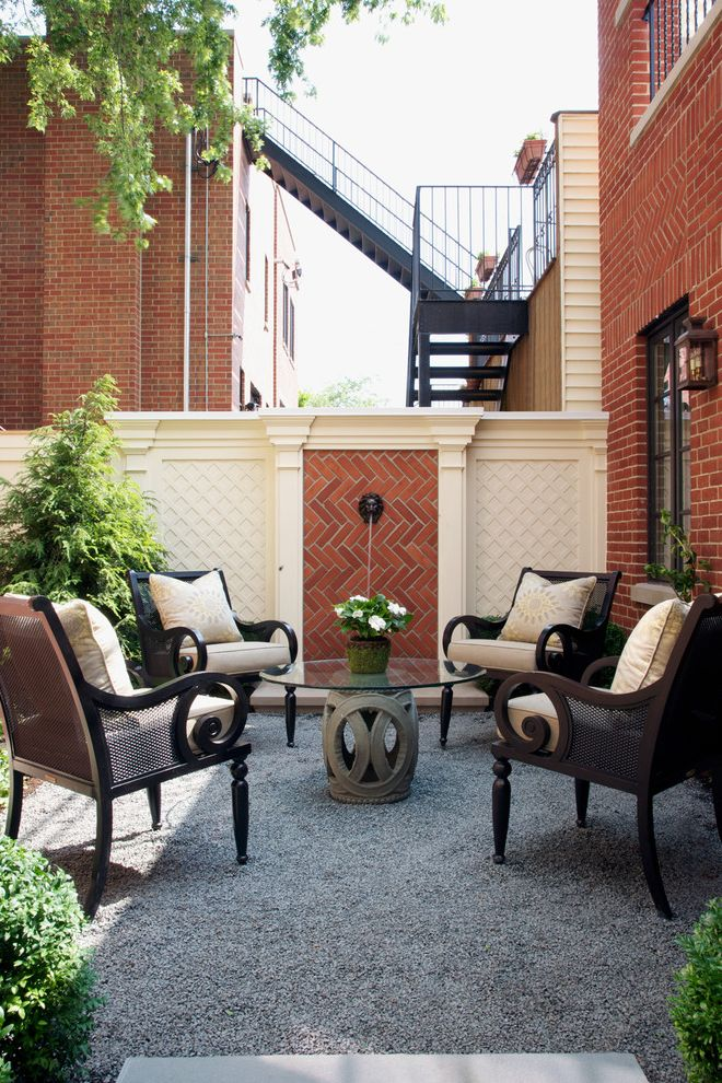 Furniture Repair Okc with Traditional Patio  and Bluestone Chip Patio Brick Wall Cornice Fountain Garden Stool Glass Top Table Gravel Herringbone Brick Pattern Lattice Lions Head Molding Round Table Wall Fountain White Cushions Wooden Patio Furniture
