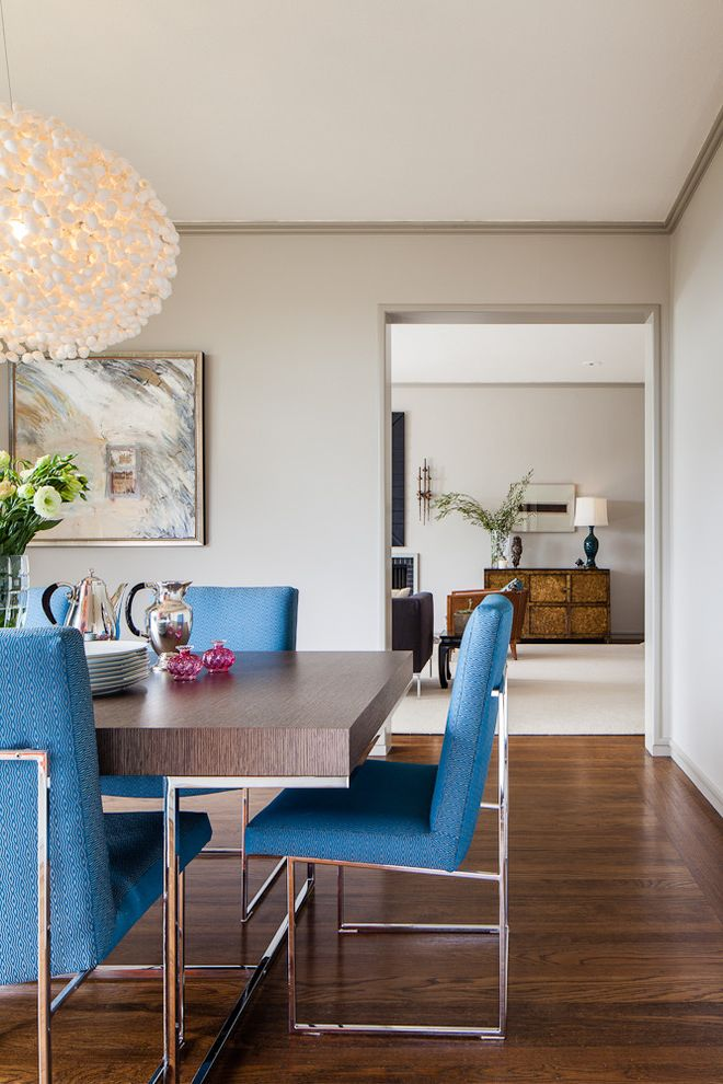 Furniture Sale Seattle   Contemporary Dining Room Also Baseboards Blue Dining Chairs Chrome Accents Colorful Accent Crown Molding Silver Tan Walls Tibetan Chest Upholstered Dining Chairs Wood Flooring