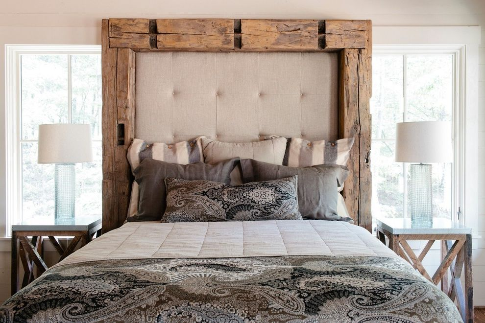 Furniture Stores Birmingham Al   Rustic Bedroom Also Glass Lamp Base Natural Lighting Neutral Colors Padded Headboard Paisley Print Russell Lands Showhouse on Lake Martin Rustic Bed Frame Taylor Dawson Architect Tufted Headboard Wood Side Tables