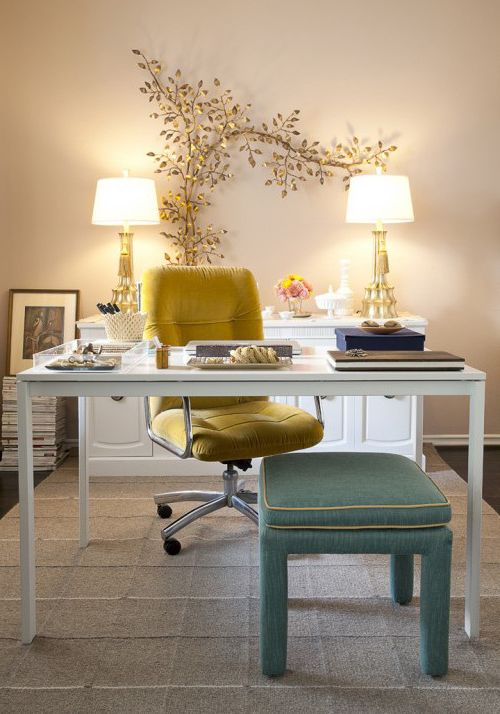 Furniture Stores Birmingham Al with Shabby Chic Style Home Office Also Area Rug Dark Floor Desktop Gold Lamps Gold Leaves Mustard Neutral Colors Office Chair Upholstered Footstool Wall Art Wall Decor White Desk