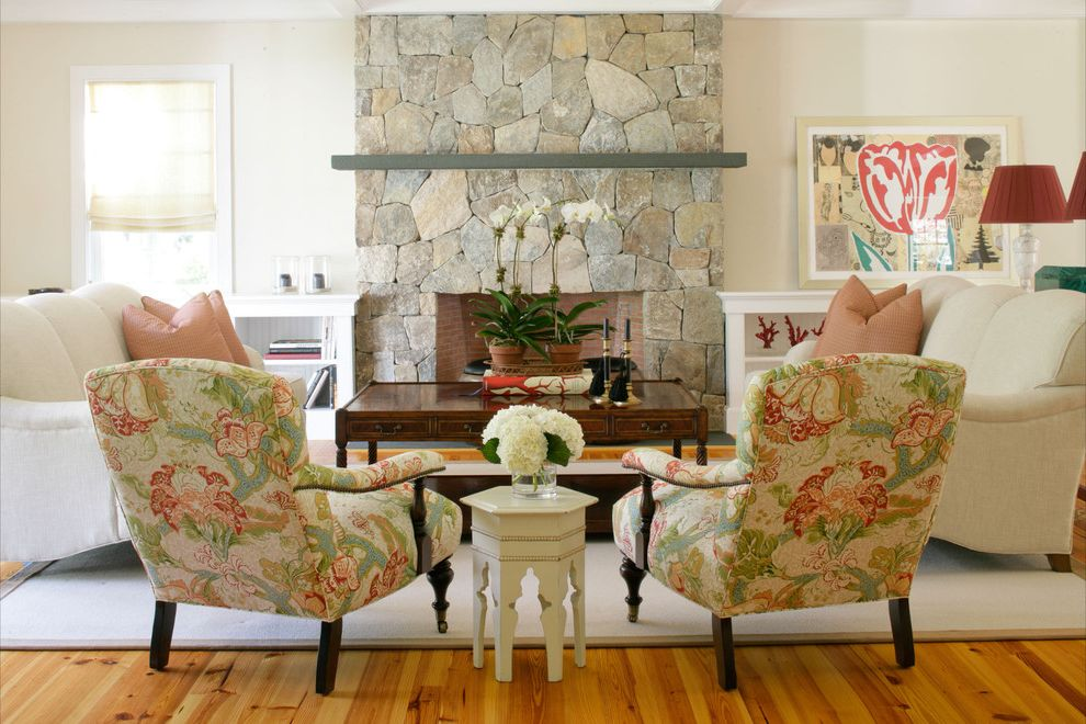 Furniture Stores Buffalo Ny   Eclectic Living Room  and Area Rug Fireplace Mantel Floral Arrangement Floral Print Hydrangeas Orchid Roman Shades Stone Fireplace Surround Symmetry Wall Decor Window Treatments Wood Coffee Table Wood Flooring