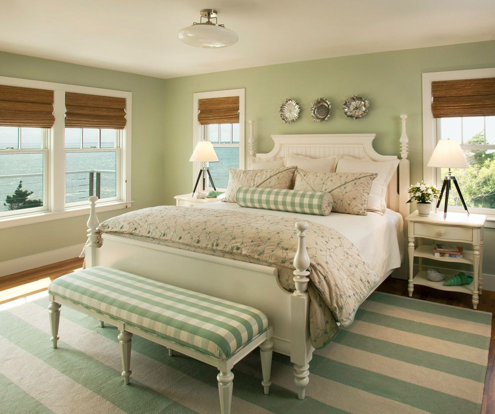 Furniture Stores Buffalo Ny with Beach Style Bedroom Also Bolster Coastal Cream Furniture Four Poster Bed Mint Green Nightstands Painted Furniture Pillows Plaid Roman Blinds Sage Green Serene Stripes Tripod Lamp Water View White Casing Woven Shades