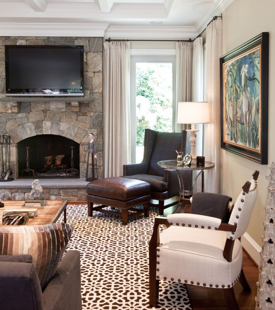 Furniture Stores Frederick Md with Traditional Family Room  and Area Rug Arm Chair Artwork Coffee Table Coffered Ceiling Curtain Panel Leather Nail Head Detail Seating Area Side Table Stone Fireplace Tv White Painted Wood Wood Floor