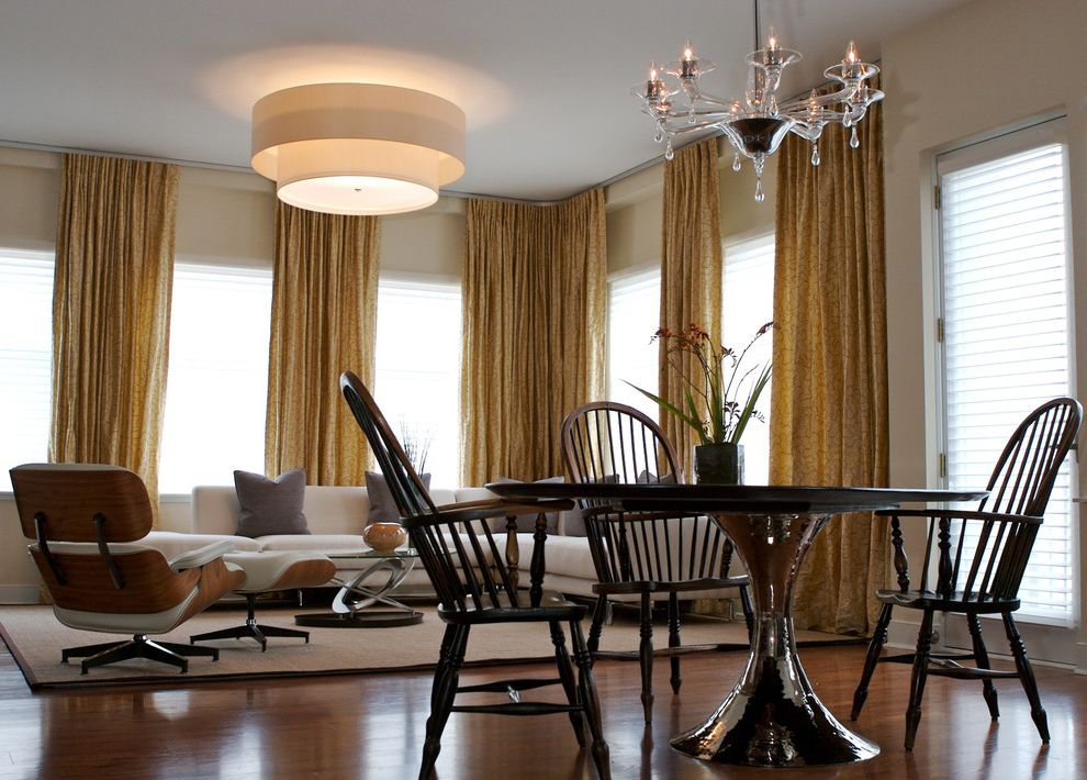 Furniture Stores in Atlanta Ga   Eclectic Dining Room  and Chandelier Curtains Drapes Drum Pendant Earth Tone Colors Mid Century Modern Modern Icons Multiple Seating Areas Neutral Colors Pedestal Table Round Dining Table Window Treatments Wood Flooring