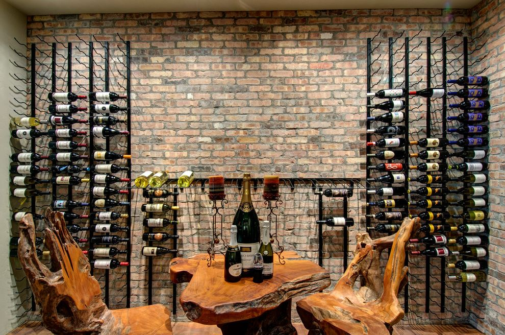 Furniture Stores in Aurora Co   Contemporary Wine Cellar Also Brick Wall Built in Wine Storage Live Edge Wood Tasting Room Wine Racks Wine Shelves Wood Dining Furniture