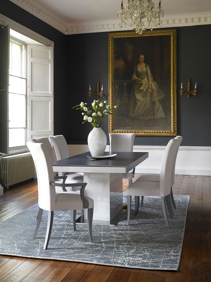 Traditional Dining Room With Modern Table $style In $location